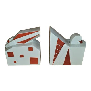 Rare French Elite Limoges Art Deco Bookends - a Pair For Sale