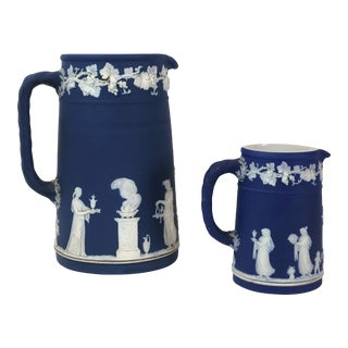 Early 20th Century Antique Dark Blue Jasperware Wedgwood Pitchers - a Pair For Sale