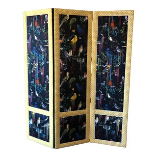Black and Yellow Birds Paint Dripped-Fabric Screen For Sale