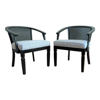 1980s Vintage Hollywood Regency Cane Barrel Chairs - a Pair For Sale