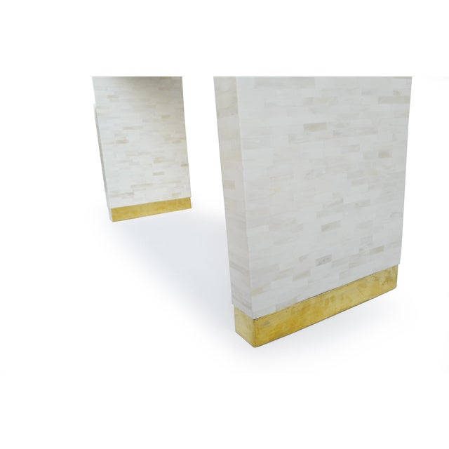 White Inlay Waterfall Console For Sale In Los Angeles - Image 6 of 8