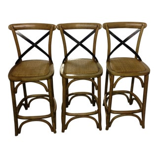 French Country Style Cross Back Counter Height Bar Stools - Set of 3