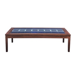 1960s Danish Modern Rosewood & Tile Coffee Table For Sale