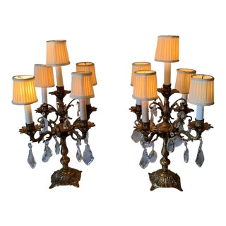 Vintage Mid Century Hollywood Regency Brass / Bronze and Crystal Chandelier Lamp- a Pair For Sale