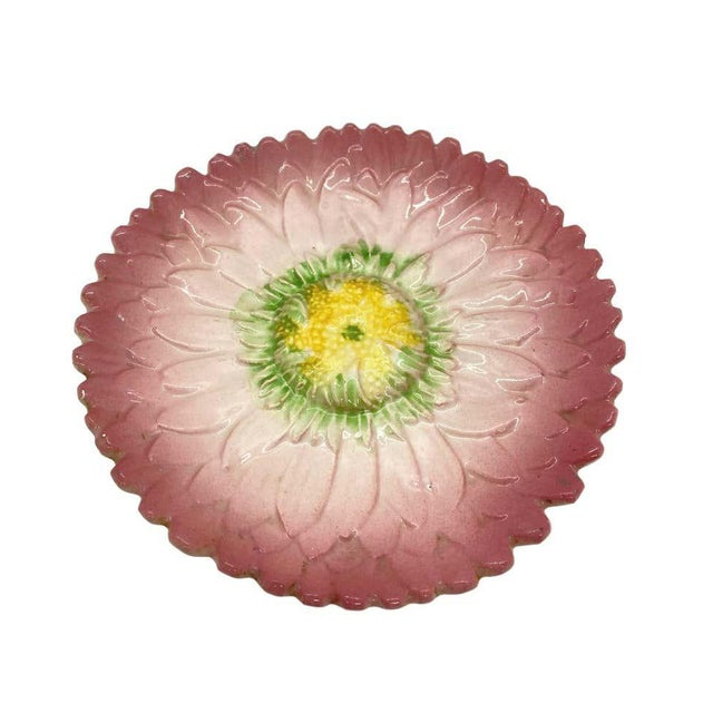 French Majolica Trompe L'oeil pink sunflower plate by Delphin Massier, circs 1870, measures: 8 inches, naturalistically...
