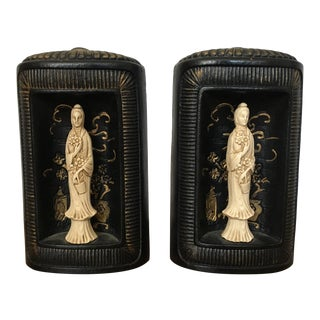 Chinoiserie Guan Yin Bookends, Pair For Sale