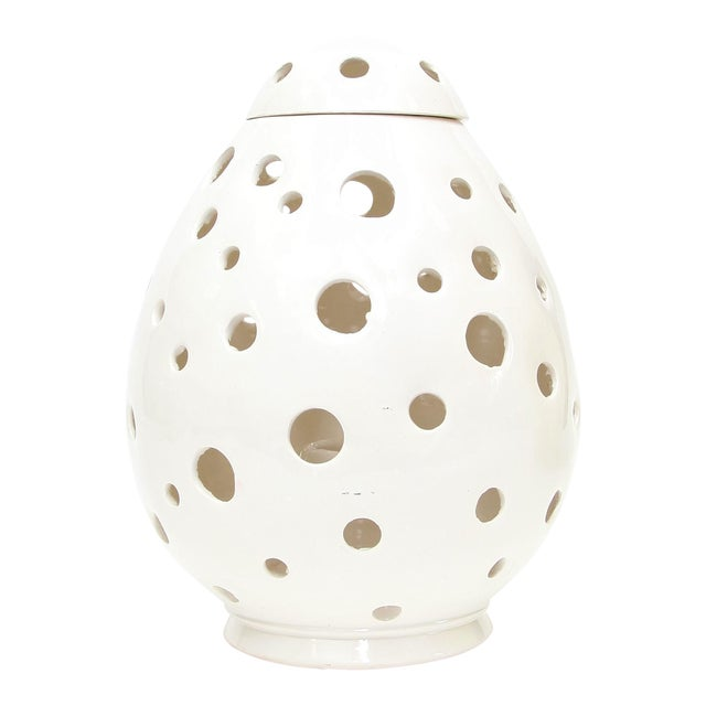 Moroccan Hand Painted White Egg Lamp Shell - Image 1 of 3