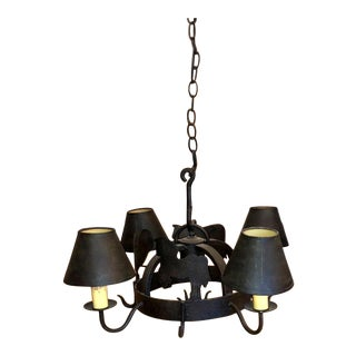 Black / Brown Farmhouse Motif Tom Thumb Chandelier For Sale