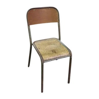 French Wood With Painted Metal Frame School Chair For Sale