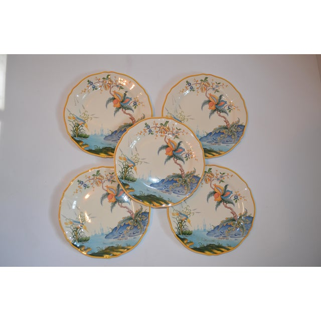 Ceramic Vintage French Gien Plates in Caraibes Pattern - Set of 5 For Sale - Image 7 of 9