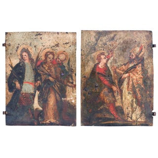 Pair of Early Oil on Copper Paintings For Sale