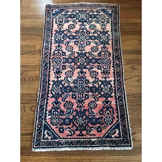 Early 21st Century Blush and Navy Persian Rug For Sale - Image 5 of 10
