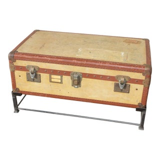 Coffee Table Crafted With Vintage French Luggage and Custom Iron Base For Sale