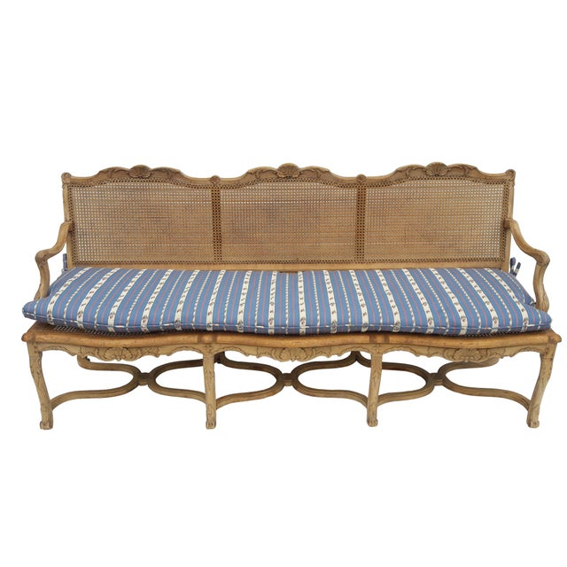 Antique French Caned Three Seat Louis XV Style Settee French Provincial Long Caned Canape For Sale - Image 13 of 13