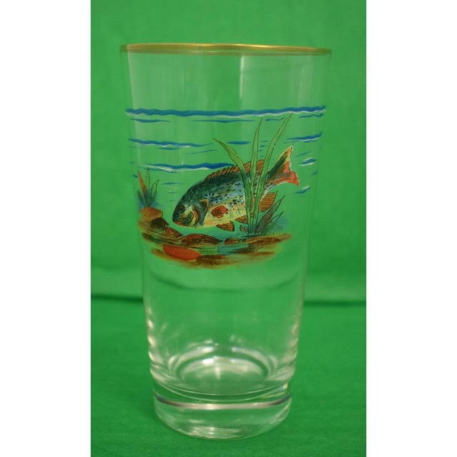 Mid 20th Century Vintage Mid-Century Hand-Painted 'Fish' High-Ball Glasses - Set of 4 For Sale - Image 5 of 6