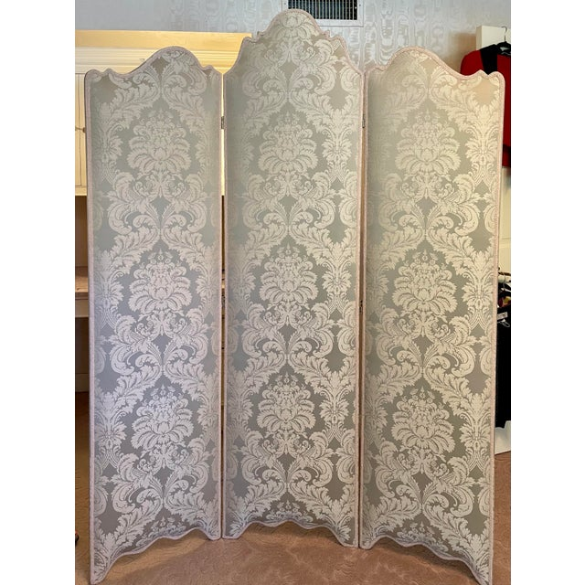 Scalamandre Vintage Scalamandre Damask Louis XVI Style 3 Panel Room Divider Floor Screen For Sale - Image 4 of 4