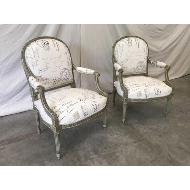Beautiful pair of 19th century French armchairs, in excellent antique condition. This lovely pair of chairs feature...