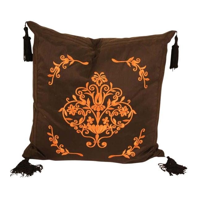 Embroidered Black Silk Decorative Throw Pillow with Tassels For Sale