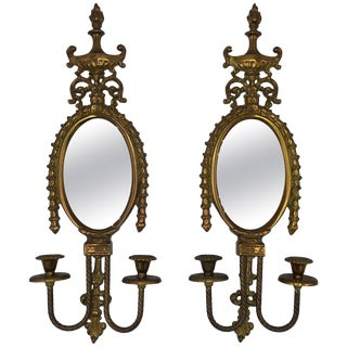 1960s Italian Brass Candlestick Wall Sconces With Mirror, Pair For Sale