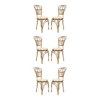 Gilt Metal Rope and Tassel Side Chairs - Set of 6 For Sale