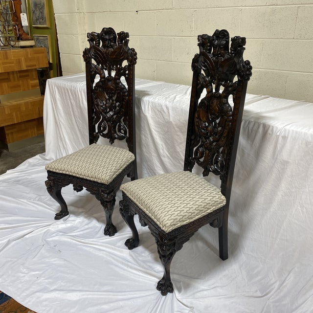 Gothic Carved Wood North Wind Face Gothic Chairs For Sale - Image 3 of 13