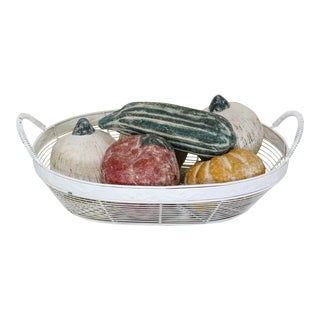 Wired Basket With Terracotta Fruits, Terracotta Fruits For Sale