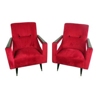 Italian Mid-Century Modern Lounge Chairs- A Pair For Sale