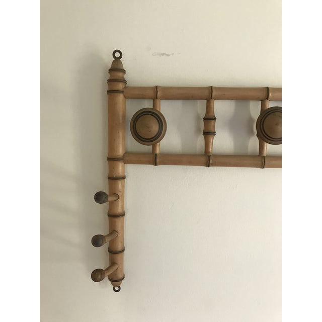 Traditional Faux Bamboo Wall Mounted Peg Coat Hat Rack For Sale - Image 3 of 9