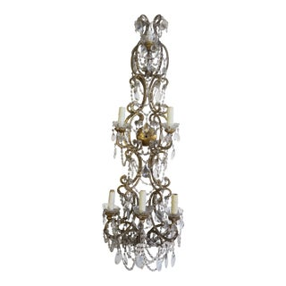 Italian Six-Light Crystal & Beaded Sconce C. 1930's