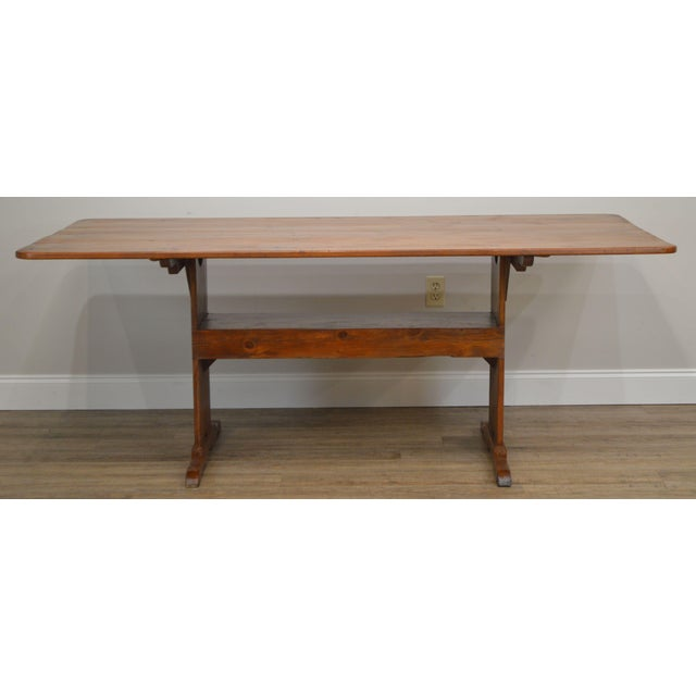 Traditional Farmhouse Pine Trestle Base Tilt Top Dining Table For Sale - Image 3 of 13