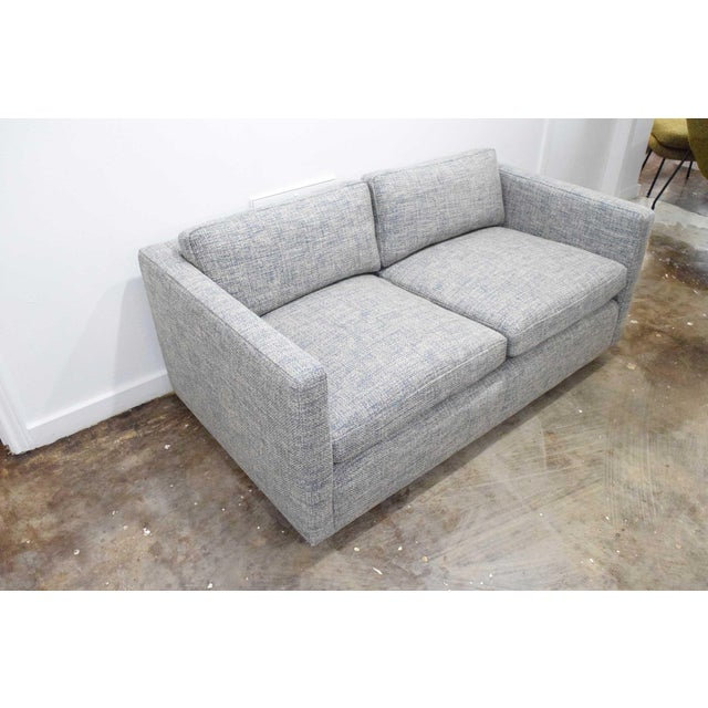 1960s Charles Pfister for Knoll Settee in Pollack Blue Weave Fabric For Sale - Image 5 of 10