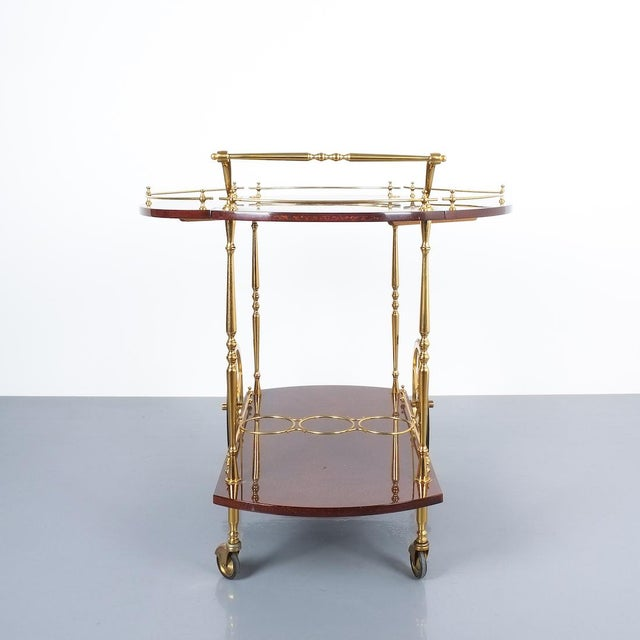 Animal Skin Aldo Tura Adjustable Brown Parchment Brass Bar Cart, 1960 For Sale - Image 7 of 13