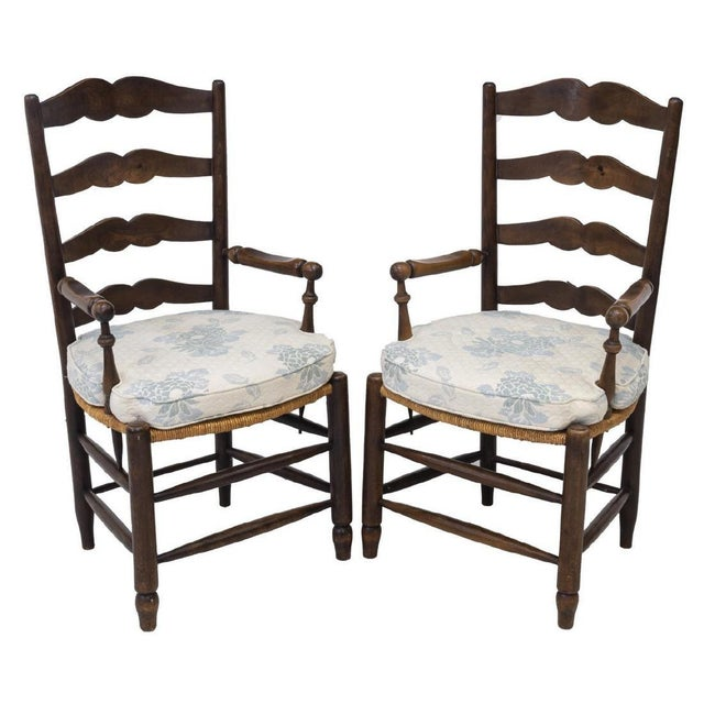 1980s Vintage French Provincial Ladder-Back Armchairs- a Pair For Sale - Image 13 of 13