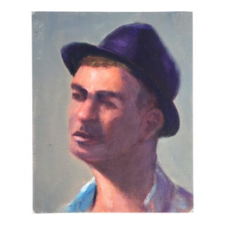Man in Hat Portrait Painting on Canvas Board For Sale