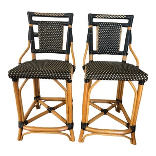 Palecek Bistro Style Rattan & Wicker Counter Stools -A Pair For Sale