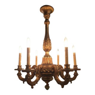 19th Century French Giltwood Six-Light Chandelier For Sale