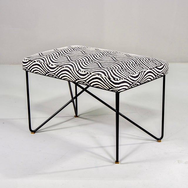 2010s Italian Mid Century Style Bench With Black Iron Hairpin Legs For Sale - Image 5 of 11