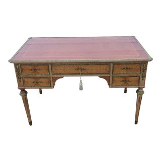 French Inlay Brass Accent Writing Office Partner Desk For Sale