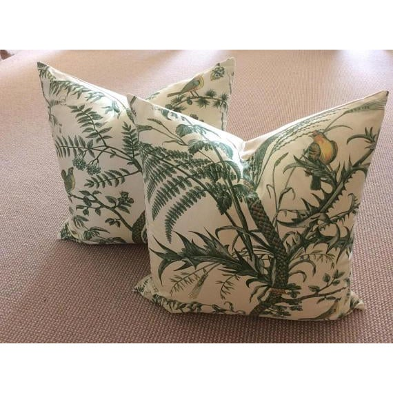 Brunschwig & Fils Bird and Thistle Green Pillow Covers - a Pair - Image 5 of 7