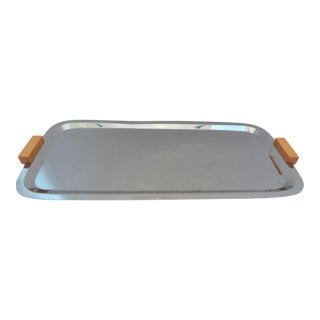 Vintage Stainless Serving Tray With Bakelite Handles
