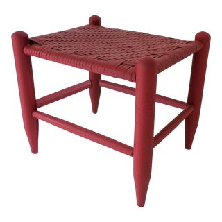 Thatched Stool Maroon/Red Painted 15 x 12 x 13.5H Excellent For Sale