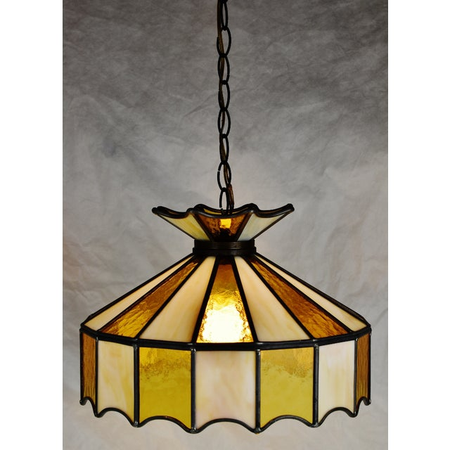 Vintage Tiffany Style Leaded Glass Pendant Light Chandelier Condition consistent with age and history. Slight crack to...