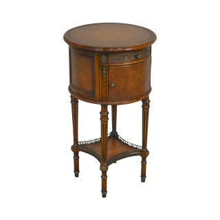 Theodore Alexander Mahogany Round Leather Top French Louis XV Style Side Table For Sale