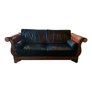 Versace Vintage Gold Medusa and Black Leather Sofa For Sale