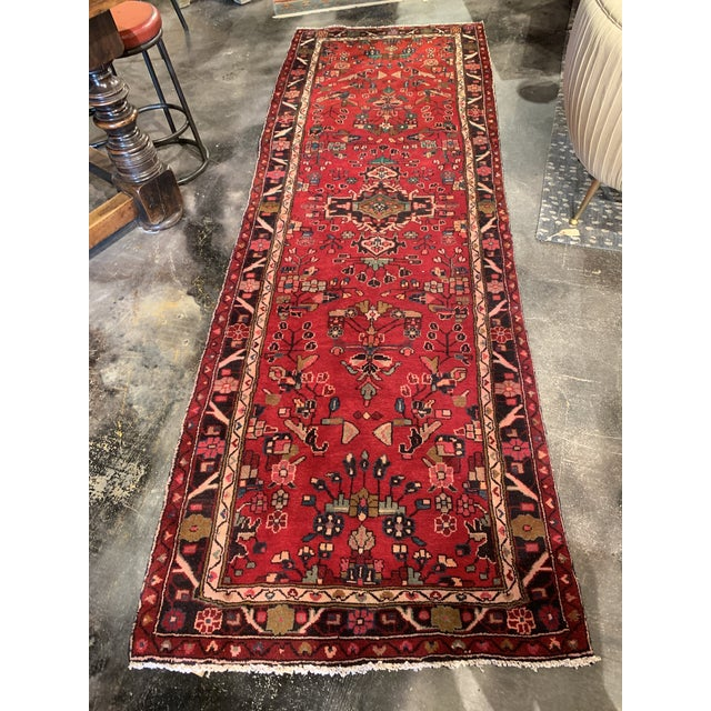 """Blue Hand-Tied Persian Saruq Wool Runner Rug - 3′6″ × 10' 7"""" For Sale - Image 8 of 12"""