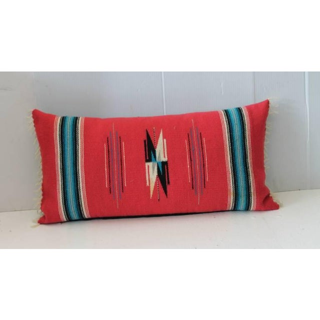 Primitive Mexican Red Serape Bolster Pillow For Sale - Image 3 of 4