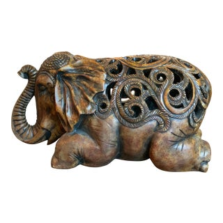 Ceylon Style Carved Kneeling Elephant Seat For Sale