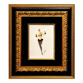 "One of a Kind Erté Original Painting ""Femme Au Collant Resille"" For Sale"