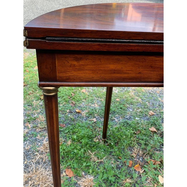 Crotch Mahogany Demilune Game Tables -A Pair For Sale - Image 10 of 13