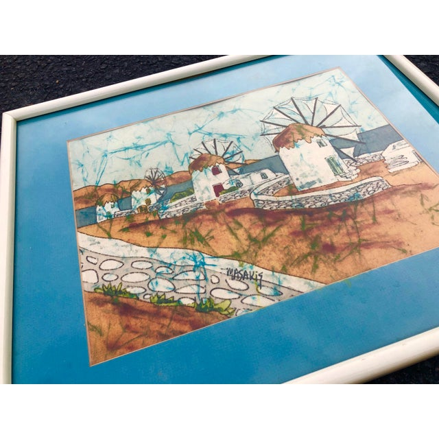 Vintage Greek Framed Batik and Cloth Paintings of Mykonos Windmills- a Pair For Sale In Charleston - Image 6 of 12